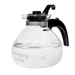 Cafe Brew Glass Stovetop Whistling Kettle